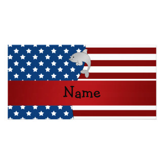 Personalized name Patriotic dolphin Custom Photo Card
