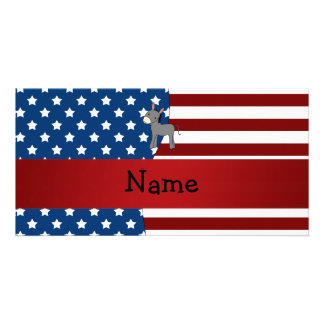 Personalized name Patriotic donkey Customized Photo Card