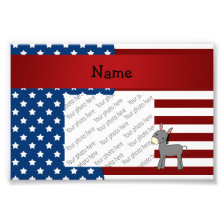 Personalized name Patriotic donkey Photo Art