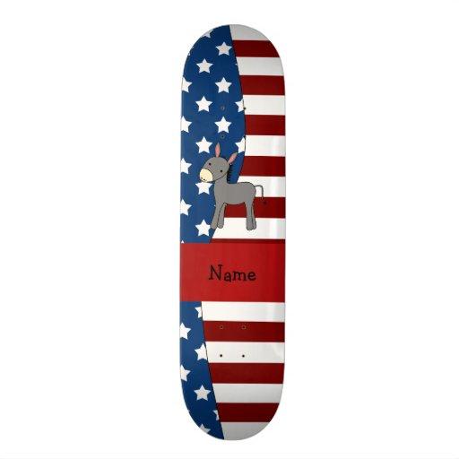 Personalized name Patriotic donkey Skate Deck