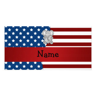 Personalized name Patriotic elephant Photo Card Template