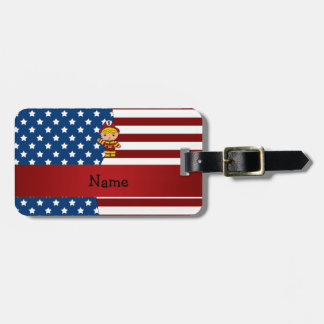 Personalized name Patriotic fireman Luggage Tag