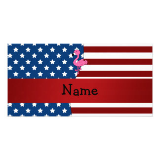 Personalized name Patriotic flamingo Personalized Photo Card