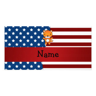 Personalized name Patriotic fox Photo Card Template