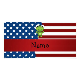 Personalized name Patriotic frog Photo Card