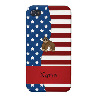 Personalized name Patriotic gorilla Cover For iPhone 4