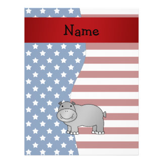 Personalized name Patriotic hippo Flyer