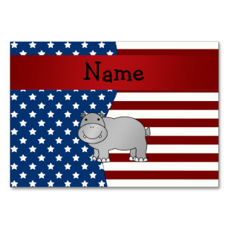 Personalized name Patriotic hippo Table Cards