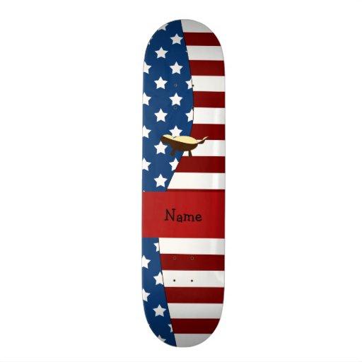 Personalized name Patriotic honey badger Custom Skateboard