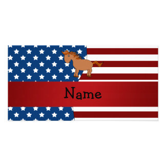 Personalized name Patriotic horse Photo Greeting Card