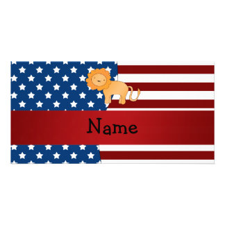 Personalized name Patriotic lion Customised Photo Card