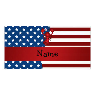 Personalized name Patriotic lobster Picture Card