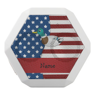 Personalized name Patriotic mallard duck White Boombot Rex Bluetooth Speaker
