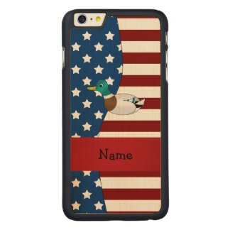 Personalized name Patriotic mallard duck Carved® Maple iPhone 6 Plus Slim Case