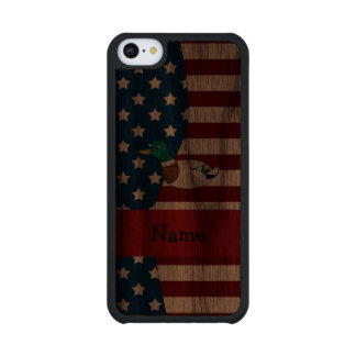 Personalized name Patriotic mallard duck Carved® Walnut iPhone 5C Case