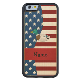Personalized name Patriotic mallard duck Carved® Maple iPhone 6 Bumper