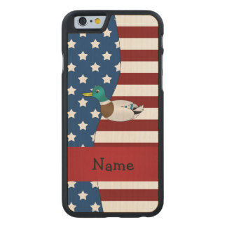 Personalized name Patriotic mallard duck Carved® Maple iPhone 6 Slim Case