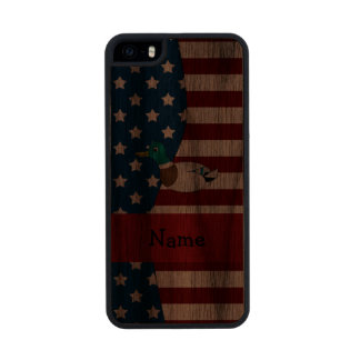 Personalized name Patriotic mallard duck Carved® Walnut iPhone 5 Slim Case