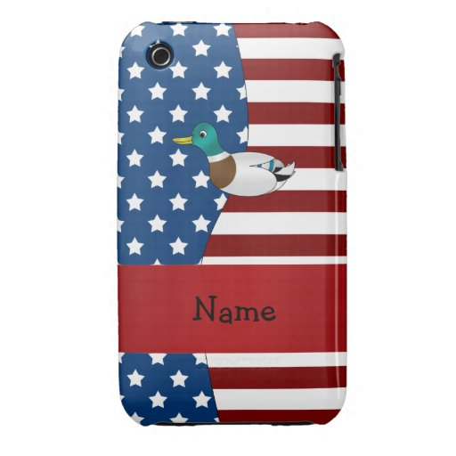 Personalized name Patriotic mallard duck iPhone 3 Cover
