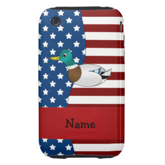 Personalized name Patriotic mallard duck Tough iPhone 3 Cover