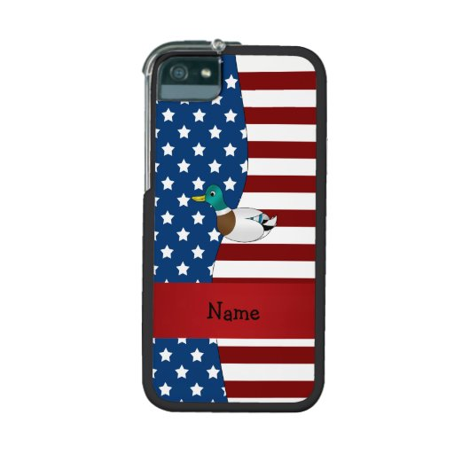 Personalized name Patriotic mallard duck Case For iPhone 5