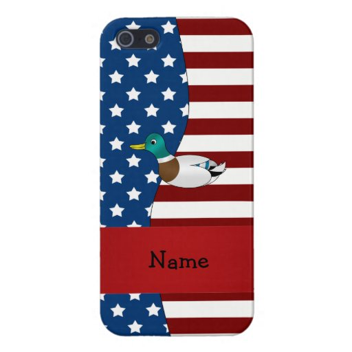 Personalized name Patriotic mallard duck Cases For iPhone 5