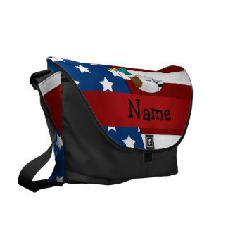 Personalized name Patriotic mallard duck Courier Bag