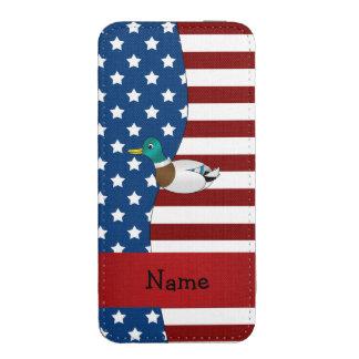 Personalized name Patriotic mallard duck