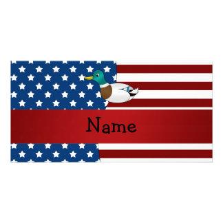 Personalized name Patriotic mallard duck Photo Card