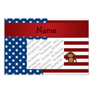 Personalized name Patriotic monkey Art Photo