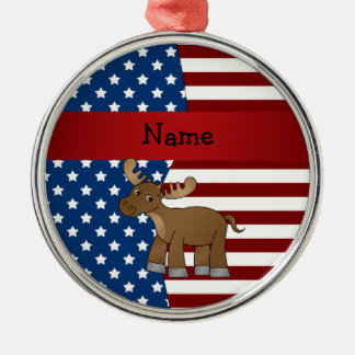 Personalized name Patriotic moose Christmas Ornament