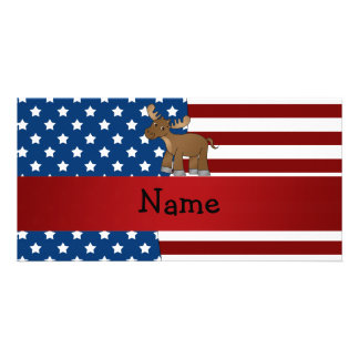 Personalized name Patriotic moose Photo Card Template