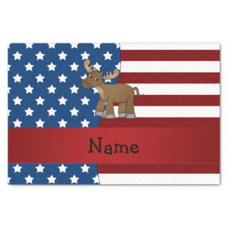 Personalized name Patriotic moose Tissue Paper