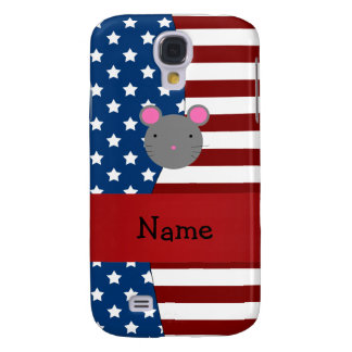 Personalized name Patriotic mouse Samsung Galaxy S4 Case