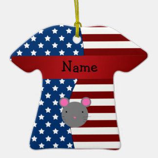 Personalized name Patriotic mouse Christmas Tree Ornaments