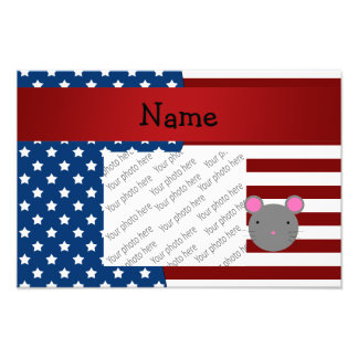 Personalized name Patriotic mouse Photographic Print