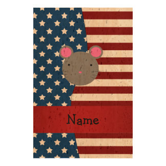 Personalized name Patriotic mouse Cork Fabric
