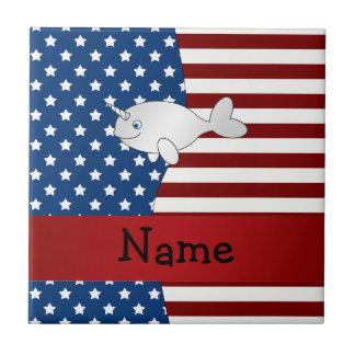 Personalized name Patriotic narwhal Ceramic Tile