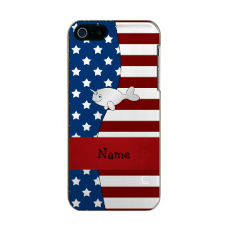 Personalized name Patriotic narwhal Incipio Feather® Shine iPhone 5 Case