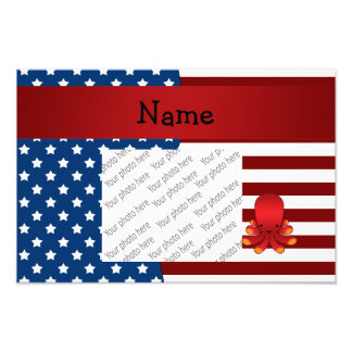 Personalized name Patriotic octopus Photograph