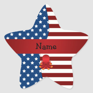 Personalized name Patriotic octopus Sticker