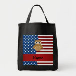 Personalized name Patriotic owl Tote Bags