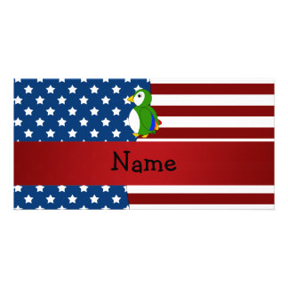 Personalized name Patriotic parrot Photo Card