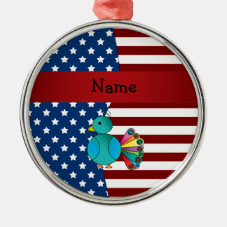 Personalized name Patriotic peacock Christmas Ornament