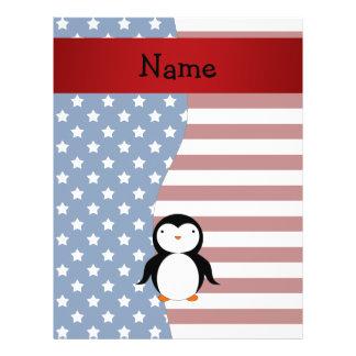 Personalized name Patriotic penguin 21.5 Cm X 28 Cm Flyer