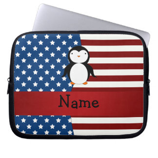 Personalized name Patriotic penguin Laptop Sleeve
