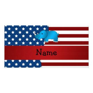 Personalized name Patriotic rhino Customised Photo Card