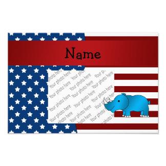 Personalized name Patriotic rhino Art Photo
