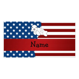 Personalized name Patriotic seal Personalised Photo Card