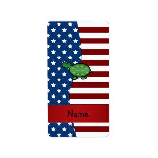 Personalized name Patriotic turtle Address Label